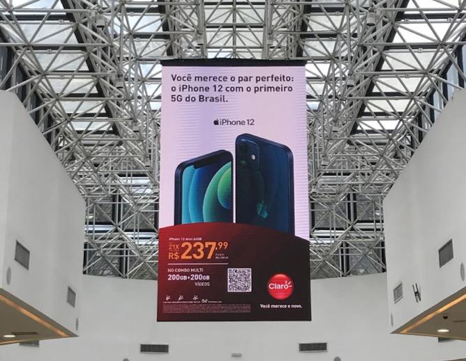 Banner Led dupla face shoppings em Brasília